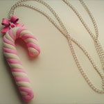 Pink & White Christmas Candy Cane necklace