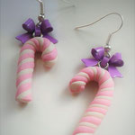 Pink & White Christmas Candy Cane earrings with Purple Bows