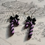 Pastel Goth Candy Cane Earrings with Sterling Silver Hooks