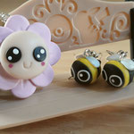 Kawaii Flower Necklace and Bee Earring set