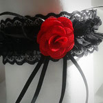 Gothic Lolita Red Rose Black lace choker