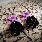 Black Rose earring with Purple Bows & Silver Hooks