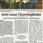 Kirchenchor Meggen, Bericht zur Generalversammlung 2015