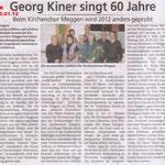 Kirchenchor Meggen, Bericht zur Generalversammlung 2012