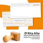 Grusskarte und Stempel für Rita Alte | Organisationsberatung