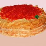 """Торт на масленицу """"Блины с красной икрой"""""""