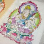 仏画体験如意輪観音彩色仏画