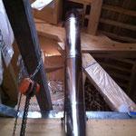 La cheminée inox dp prête pour recevoir le foyer