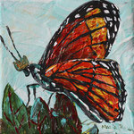 "Butterfly King has Lofty Goals, 4"" x 4"", acrylic on canvas, 2014"
