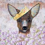 "Our Dear Deer Queen, 16"" x 20"", acrylic on canvas, 2013"
