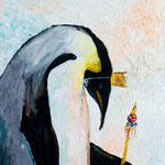 "Sad Penguin King, 14"" x 18"", acrylic on canvas, 2013"