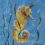 "Seahorse Queen Makes the King Bear Children, 6"" x 6"", acrylic on canvas, 2014"
