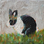 "Rabbit Emperor Enjoys Solitude, 6"" x 6"", acrylic on canvas, 2014"