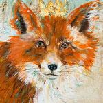 "Fox King Implores, 11"" x 14"", acrylic on canvas, 2013"
