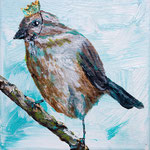 "Sparrow King is Indifferent, 6"" x 6"", acrylic on canvas, 2013"