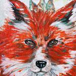 "Fox King, 8"" x 10"", acrylic on canvas, 2013"