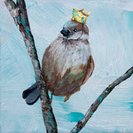 "Sparrow Queen, 6"" x 6"", acrylic on canvas, 2013"