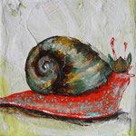 "Snail King is Slow to Act, 4"" x 4"", acrylic on canvas, 2014"