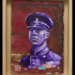 Sergent / 25x15cm  huile sur tole de bus 2017
