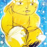 """Atlantis-tOG Nr. 020 - Alina Atlantis Werk """"Ich sitze schärfer"""" - Zyklus """"GIPFELSTÜRMER"""" - 70 x 50 - (c) tOG-Düsseldorf"""