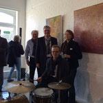 Bärbel Ert-Beddig mit dem Team der tOG-Düsseldorf und den Jazz-Boys
