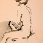 """""""Chloé sitzend"""" in der Ausstellung """"Nackte Tatsachen"""" von Roswitha Schardt"""