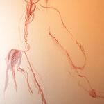 """""""Katrin träumend"""" in der Ausstellung """"Nackte Tatsachen"""" von Roswitha Schardt"""