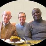 P. Claude, le jour de son anniversaire, avec les PP. Loïc et Emmanuel