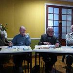 Les PP. Jean-Pierre Crétois, Bernard Barré, Claude Boitard et René Louvel