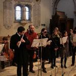 Répétition des musiciens ; on reconnaît Olivier et Anne Baudoin, Claire Guénot, Nolwenn Huet...