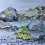 """""""Island - Porsmörk"""", Zeichnung, Aquarell, 2019"""
