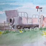 """Langeness - Lorenbahn - Endstation"", Aquarell, 20,5 x 28, 2012"