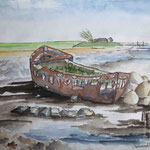 """Langeness - Osterwehl - Altes Wrack"", Aquarell, 20,5 x 28, 2012"