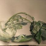 """""""Junges Gemüse"""" Zeichnung Aquarell, 2019"""