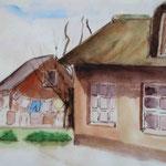 """Langeness - Ketelswarf - Rotes Haus"", Aquarell, 20,5 x 28, 2012"
