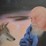 Dietmar mit Wolf und Sternzeichen - Acryl auf Karton - Auftragsarbeit 70*50cm - verkauft - 2014