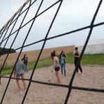 Das Beachvolleyballfeld.