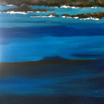alain robet impression bleue acrylique sur toile