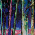 alain robet colorful trees pastels à l'huile sur carton