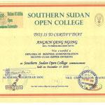 Diploma van Angach Geng..