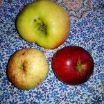 Drei Apfelsorten.