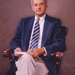 "Dr. Richard A. Hawley, President, University School, Huntington Valley, Ohio - oil on linen 40""x30"" (portrait in oil)"