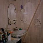 Salle de bain lambris pastel