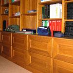 Bibliothèque et tiroirs chêne