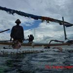 Am Ende des Tauchgangs ohne Leiter ins Boot zurück...