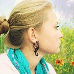 Wood Jasmine Curls Tribal Earrings OGE-011