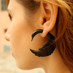 Black Horn Swan Tribal Earrings OGE-003