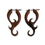 Wood Jasmine Curls Tribal Earrings OGE-011