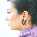 Black Wood Spiral Tribal Earrings OGE-014