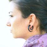 Black Wood Spiral Tribal Earrings OGE-014